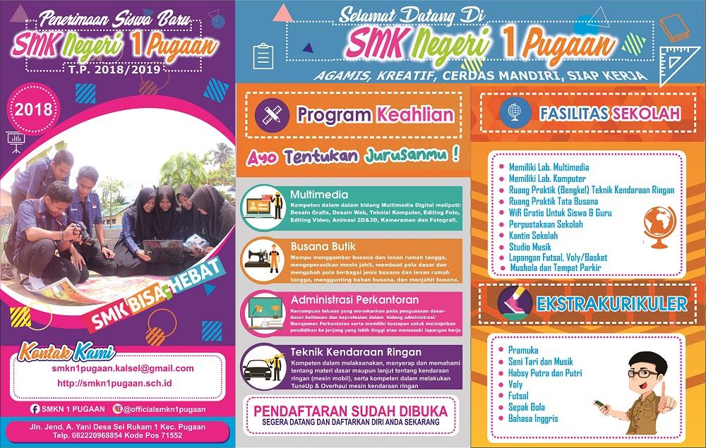 Informasi Pendaftaran Siswa Baru SMKN 1 Pugaan Tahun Pelajaran 2018/2019
