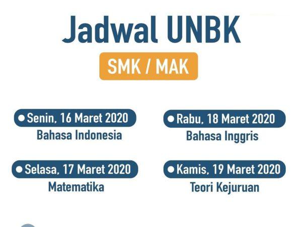 JADWAL UNBK MA/SMK TAHUN 2020