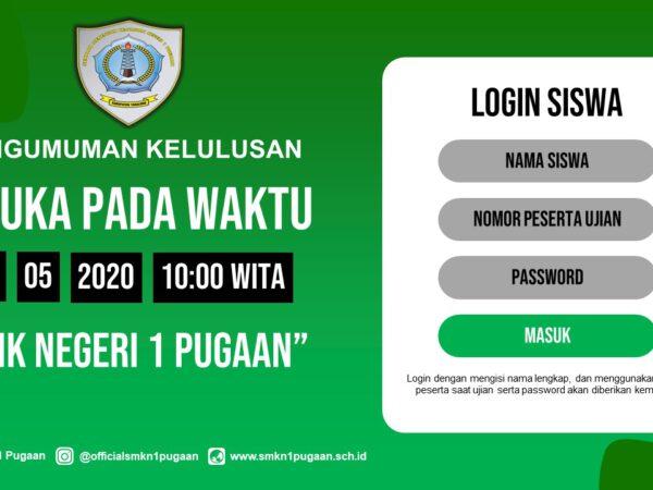 Secercah Pengumuan Kelulusan Siswa SMKN 1 Pugaan Tahun 2019/2020 Secara Online